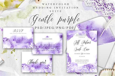 Gentle Purple Watercolor Spring Wedding Invitation Suite By Evgeniiasart Thehungryjpeg Com Wedding Invitation Suite Templates