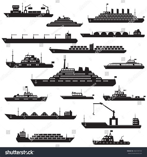 boat icon black and white set of black and white silhouette ship and boats icons