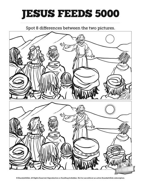 printable coloring page jesus feeds 5000 jesus feeds 5000 kids spot the difference can your kids