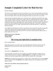 Business Letter Unsatisfactory Service Sample Complaint Letter For Bad Service Business