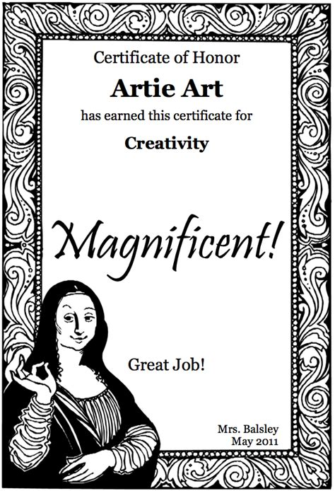printable art awards printable art award certificates