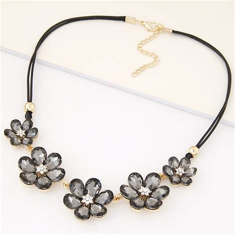 Fashion Necklace A49403 Gray korean fashion glass flowers wax rope fashion necklace gray