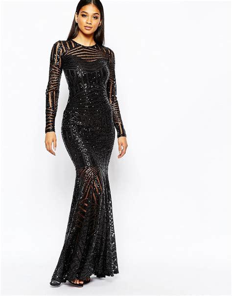 L Dress by Club L Club L All Sequin Fishtail Maxi Dress At Asos