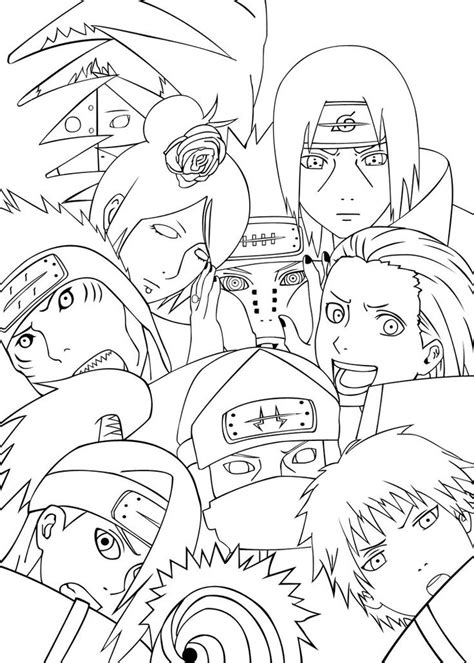 naruto coloring pages akatsuki akatsuki team naruto coloring pages pinterest