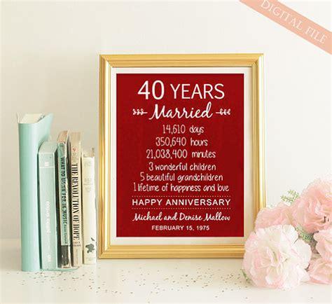 40th anniversary gift 40 years wedding anniversary personalized 40th wedding print