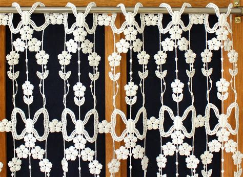 Macrame Lace Curtains Macrame Lace Curtain With Daisies