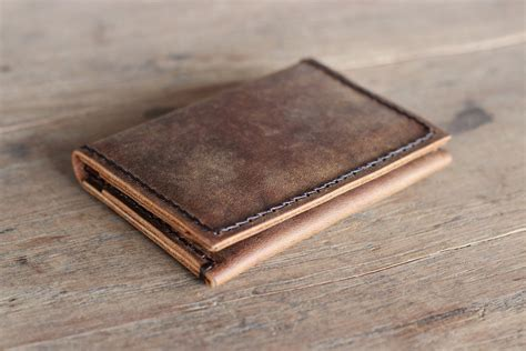 Mens Handmade Leather Wallets - men s leather wallet ultra slim minimalist rustic bifold