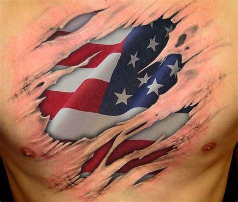 tattoo 3d usa 3d realistic usa flag tattoo on chest