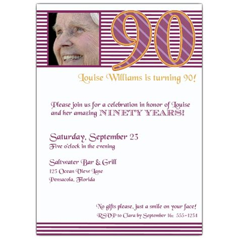 90th birthday pink stripes photo invitations paperstyle