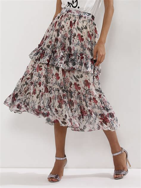 Frilled Midi Skirt buy closet drama floral midi skirt with frill detail for