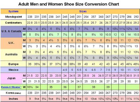 shoe size chart in china china size conversion images