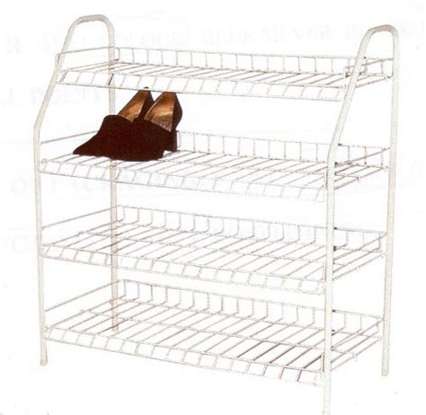 4 Tier Wire Shoe Rack by H L Russel Ltd 4 Tier White Wire Shoe Rack Holds Up To