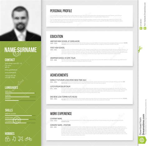 Matrice Cv Word by Minimalistic Cv Resume Template Stock Vector Image