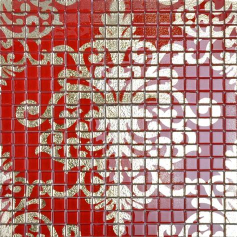 Peel And Stick Mosaic Tile Crystal Glass Tile Red Puzzle Mosaic Tile Murals Crystal