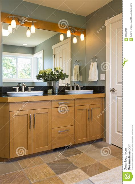 home interior bathroom mirror and sink stock photo image bathroom vanity with wood cabinets double sinks slate