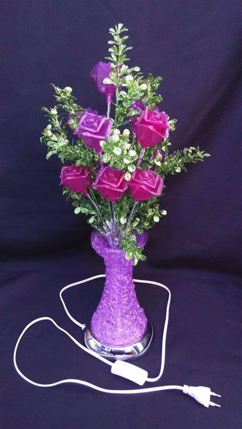 artificial flower led rose flower vase light purple color