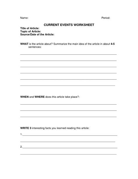 Current Events Worksheets by Best Photos Of Current Events Printable Template Current