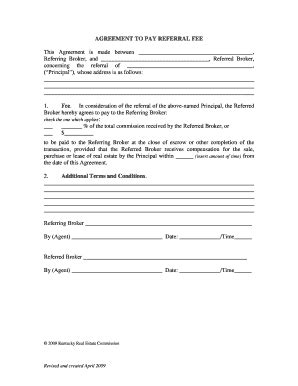 sales referral agreement template real estate referral agreement fill printable