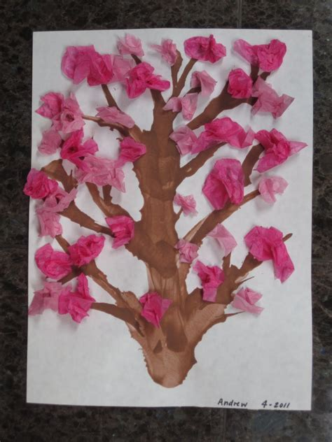 Tissue Paper Tree Craft - roth family tissue paper cherry blossom tree