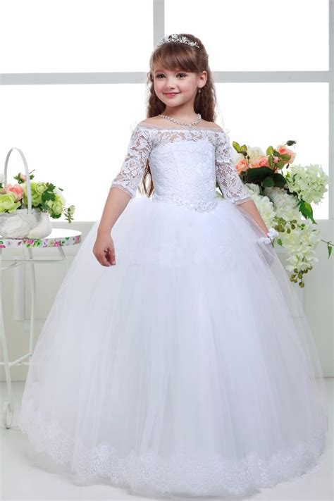 long white lace  sleeve ball gown flower girls