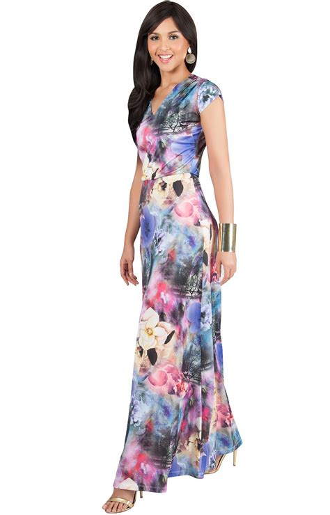 Sleeve V Neck Dress cap sleeve v neck floral printed maxi dress