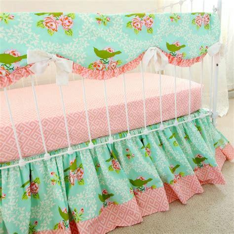 Turquoise Nursery Decor Turquoise Mockingbird Bumperless Set Rail Cover Version Lottie Da Baby Baby Bedding