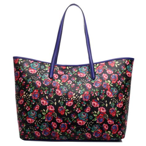 Totebag Flowly Flower l1516nf miss lulu fashionable oilcloth flower tote bag black