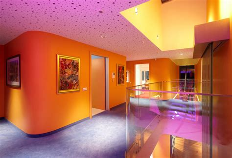 modern home interior with colorful led lighting