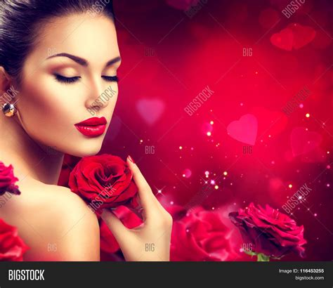 hair dresser s day beauty woman red rose valentine image photo bigstock