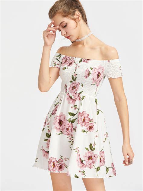 Promo Murah Summer Dress Flower Pastel bardot ditsy print smock dressfor romwe