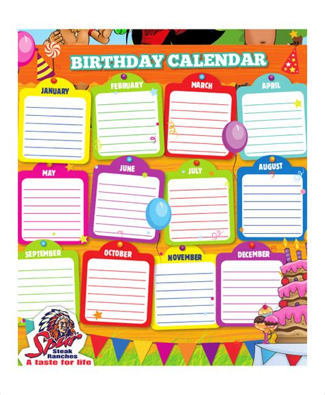 Birthday Calendars Printable Calendars Sle Sle 2012 Calendar Template