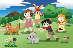 little kids with pets in the garden by artisticco