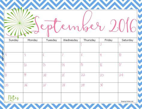 Free September 2016 Calendar Template