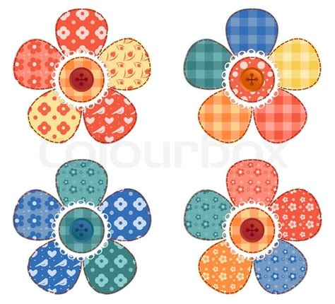 Patchwork Flowers - set of four patchwork flower vector colourbox