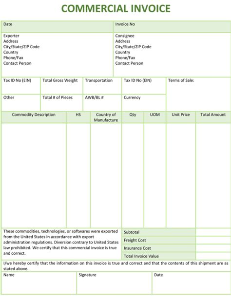 template for commercial invoice commercial invoice template cyberuse