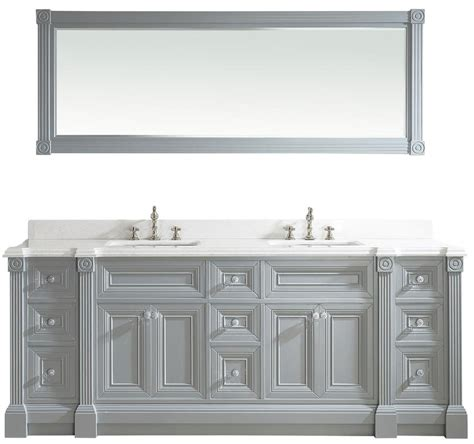 84 Inch Bathroom Vanity 84 Inch Gray Finish Sink Bathroom Vanity Cabinet With Mirror
