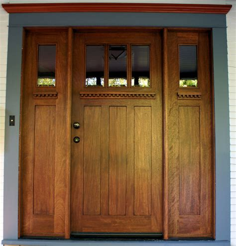 Arts And Crafts Exterior Doors Arts And Crafts Mahogany Entry Door With Matching Sidelites Craftsman Entry By