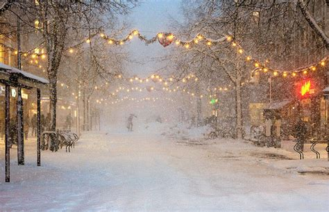 christmas lights snow street vyer winter image
