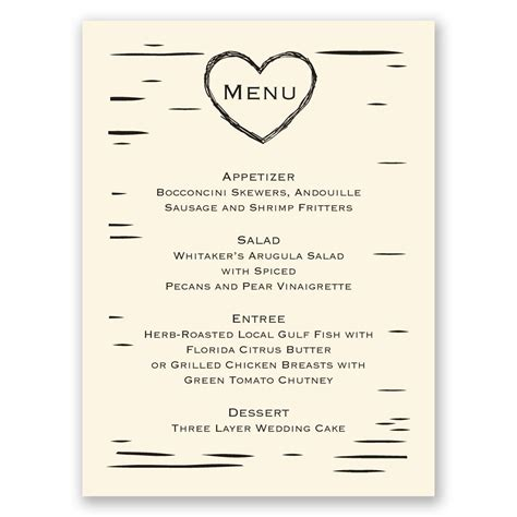 menu invitation template birch bark menu card invitations by