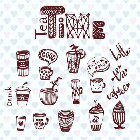 Tea Time And Coffee Time tea and coffee time doodle sketch collection with cups
