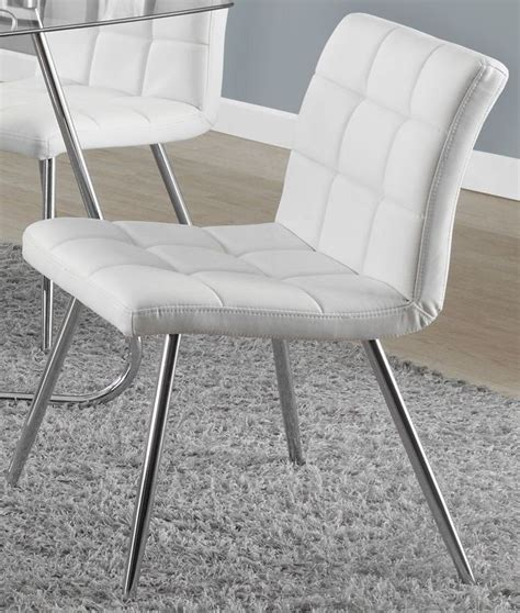 White Chrome Metal 32 Quot Dining Chair Set Of 2 From Monarch White Metal Dining Chair