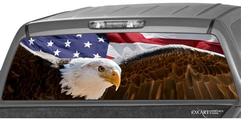 american flag bold eagle rear window graphic decal