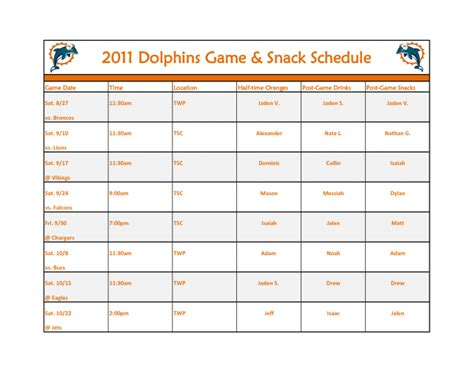 Soccer Snack Schedule Template Team Mom Snacks Schedules Impression And Baseball Football Stuff Football Snack Schedule Template