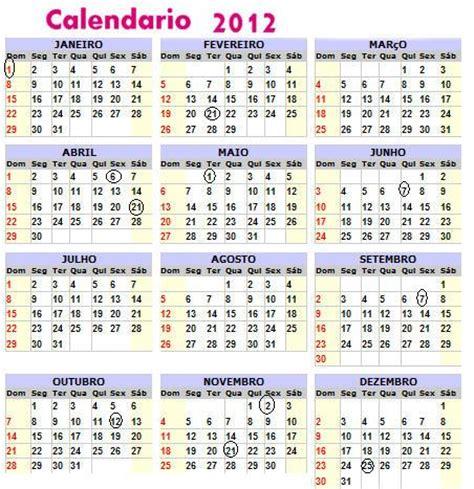 Anno 0 Calendario Gregoriano Calend 193 2012 Feriados Nacionais Imprimir 2o12