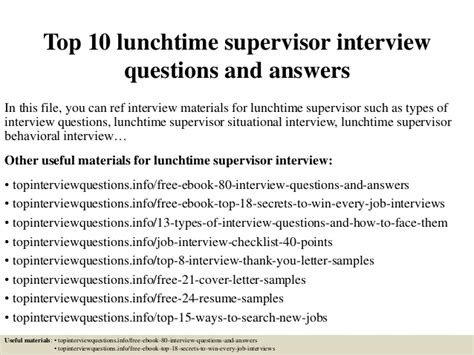 Personal Statement Examples Resume by Top 10 Lunchtime Supervisor Interview Questions And Answers