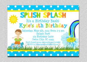 boys pool waterslide birthday invitation waterslide