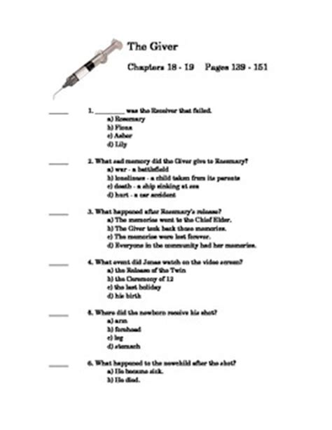 The Giver by Lois Lowry Quiz on Chapter 18 and 19 by