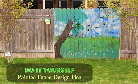 painted fence ideas backyard fence decorating design - Painting Backyard Fence