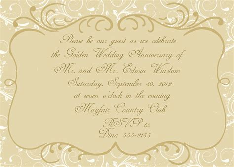 Anniversary Card Template by Free Printable 50th Anniversary Invitations