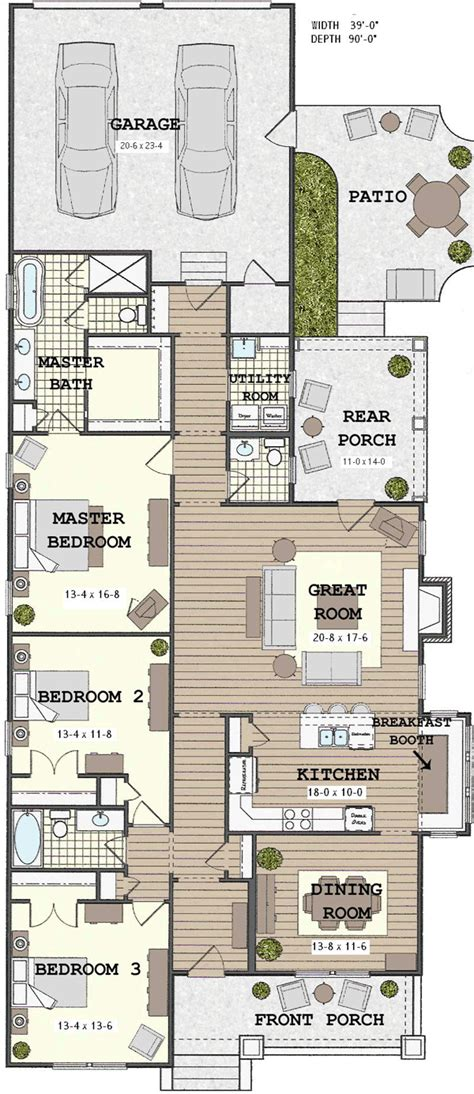 narrow home floor plans narrow house with possible open floor plan for the home house plans house